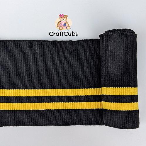 Striped Cuff Ribbing in Black and Yellow