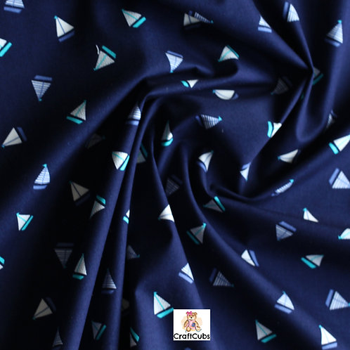 Hey There Sailor Cotton Poplin Fabric in Navy Blue