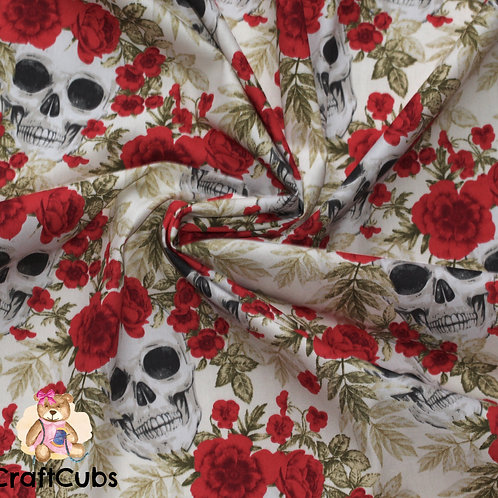 Skulls and Roses Cotton Poplin Fabric