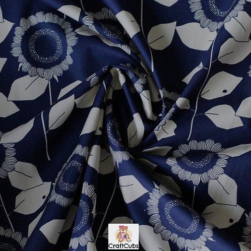 Sarah Sunflower Cotton Poplin Fabric in Navy
