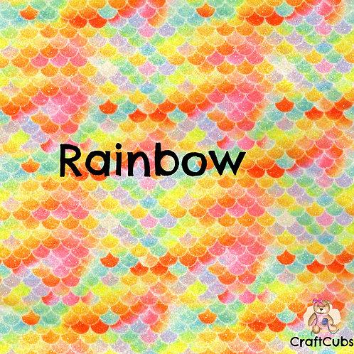 Glitter Mermaid Vinyl Fabric in Rainbow