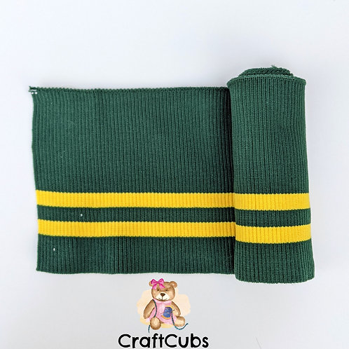 Striped Cuff Ribbing in Green and Yellow