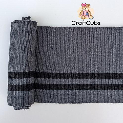 Striped Cuff Ribbing in Grey and Black