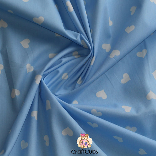 Candy Hearts Cotton Poplin Fabric in Blue