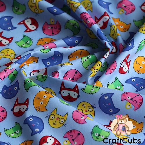 Comic Cat Cotton Poplin Fabric in Blue