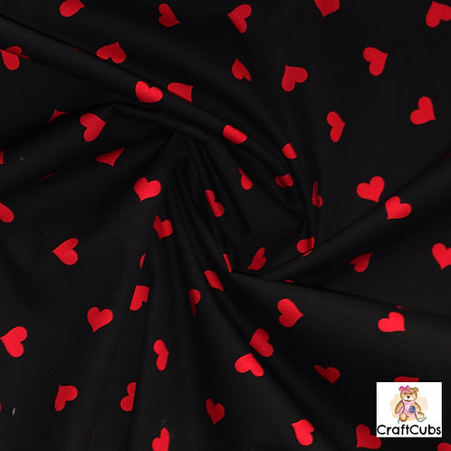 Candy Hearts Cotton Poplin Fabric in Black