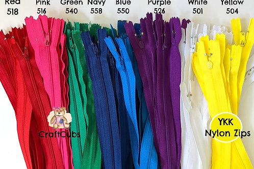 YKK Size 3 Nylon Zippers (10 inches/25cm)