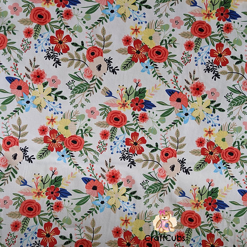 Once and Floral Cotton Poplin Fabric in Cream