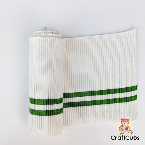 Striped Cuff Ribbing in White and Green