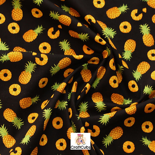 Pineapple Party Cotton Poplin Fabric in Black