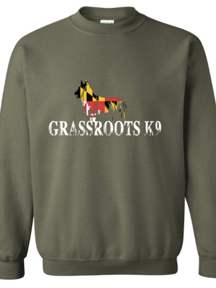 Army Green Grassroots K9 Maryland Crewneck Sweatshirt