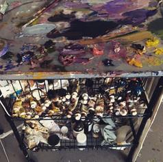 #artist #artiststudio #artstudio #painter #paint #oilpaint #palette #colorwheel #mixingpaint #artwork #painter