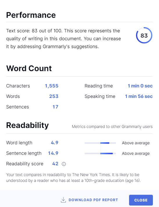 Grammarly Text Performance