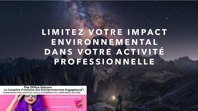 Ebook Limitez votre impact environnemental dans votre activité professionnelle