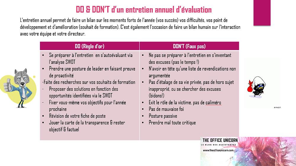 Do & don't d'un entretien annuel d'évaluation- The Office Unicorn le blog des assistantes