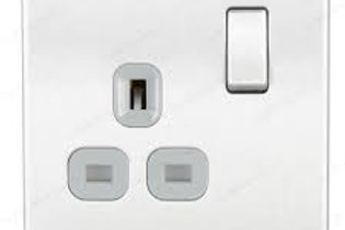 BG Screwless 13A 1 Gang Switch Socket BS/ Grey Insert