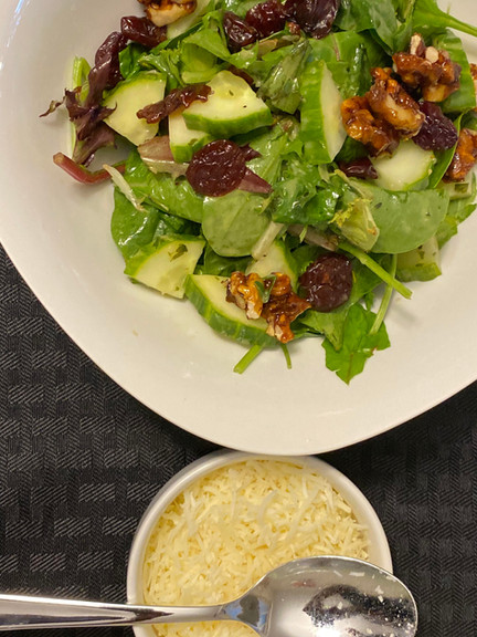 Autum Salad with sun dried cranberries and honey glazed walnuts