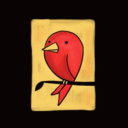 Birdie on a Branch, 5x5 Print