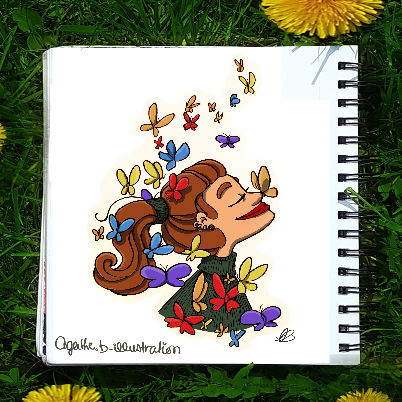 Fille aux papillons