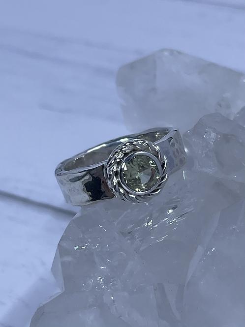 Peridot Hammered Ring
