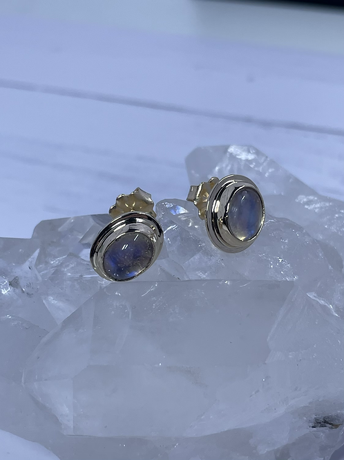 14k yellow gold moonstone post earrings