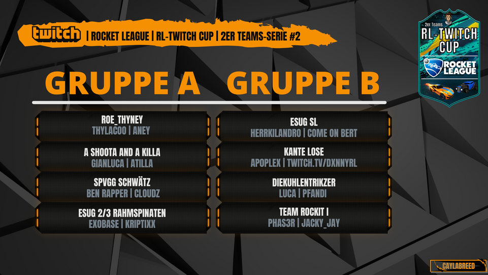 RL-TWITCH CUP 2er Teams Gruppe A - B #Se