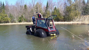 Amphibious weekend ride with Patrol ATV.