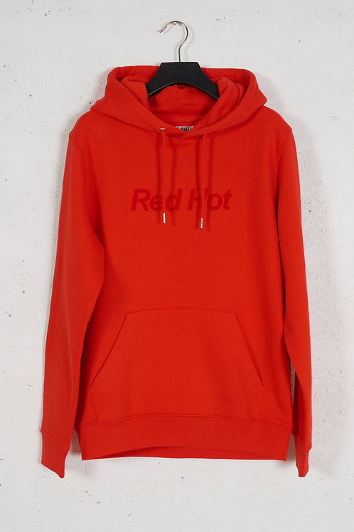 COLOUR HOODIE FIRE RED + RED HOT FLOCK PRINT