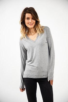 T-Shirt gris col V