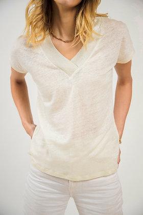 T-Shirt col V scintillant paille