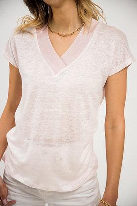 T-Shirt col V scintillant rose pastel