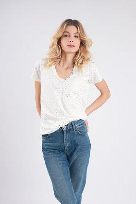 T-Shirt à Pois Dorés