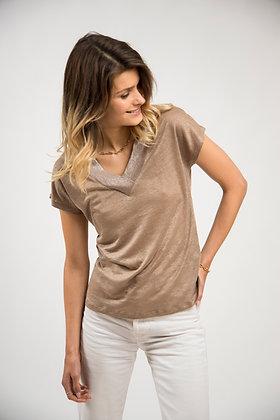 T-Shirt col V scintillant faon