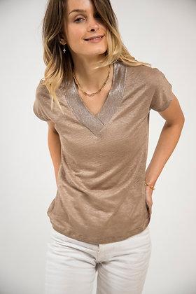 T-Shirt col V Brilliant marron