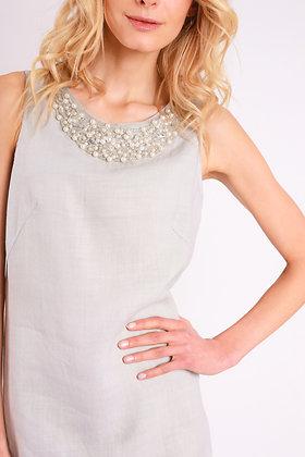 Robe Lin Collier de Perles
