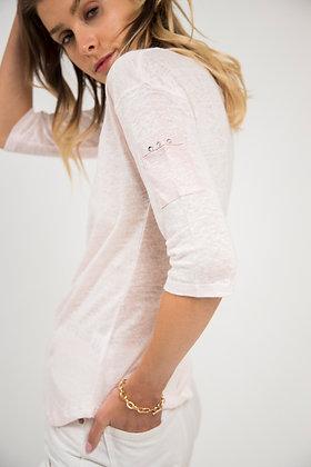 T-Shirt col échancré rose pastel