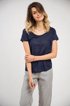 T-shirt en lin marine trois petits boutons