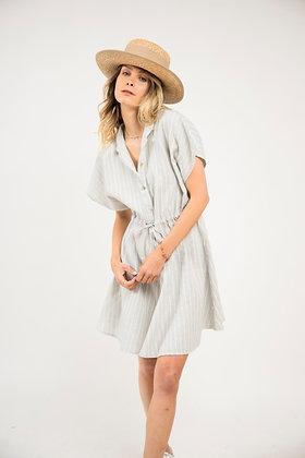 Robe rayure grise et blanche élastiquée à la taille