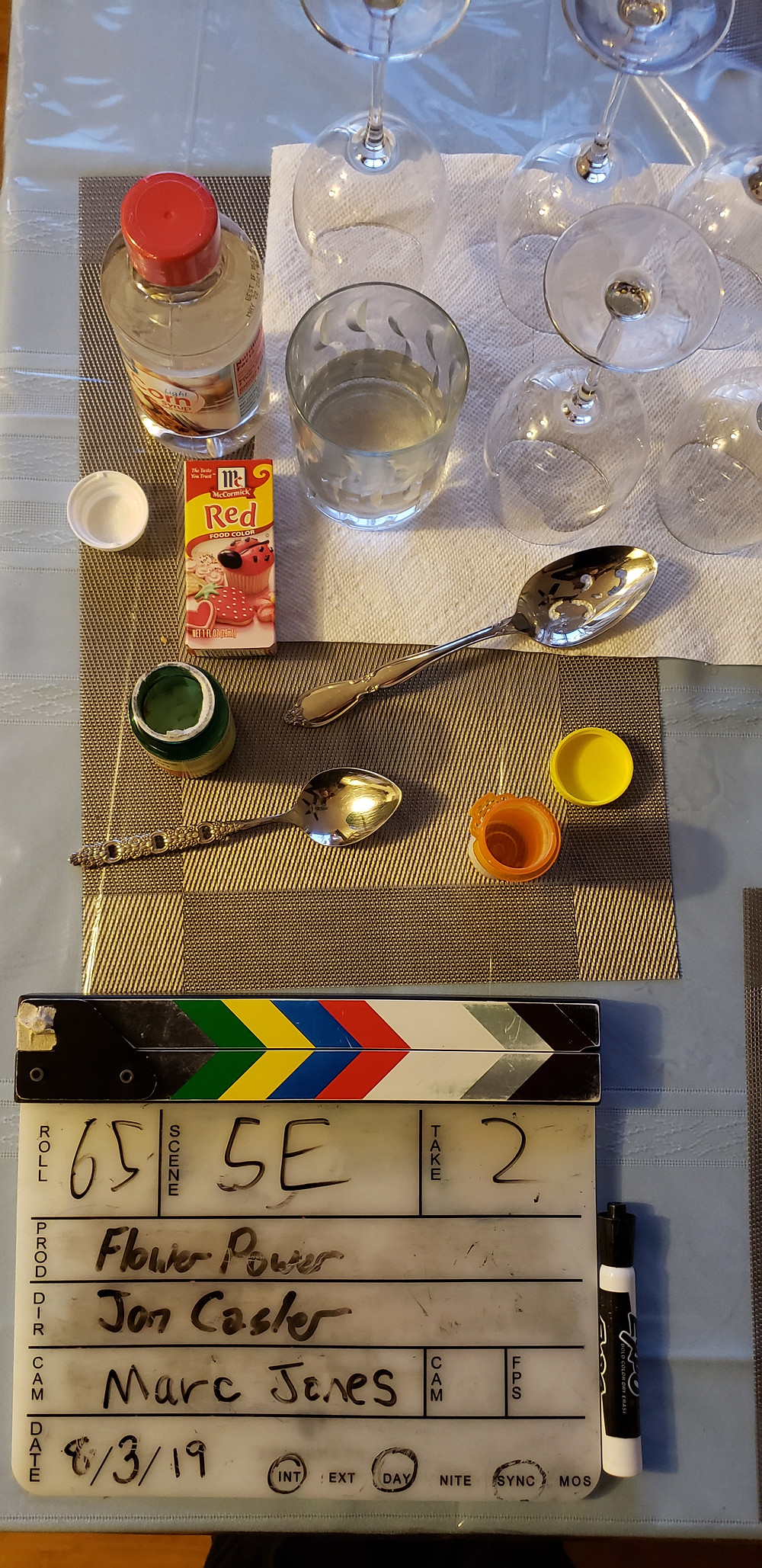 A clapper and some props