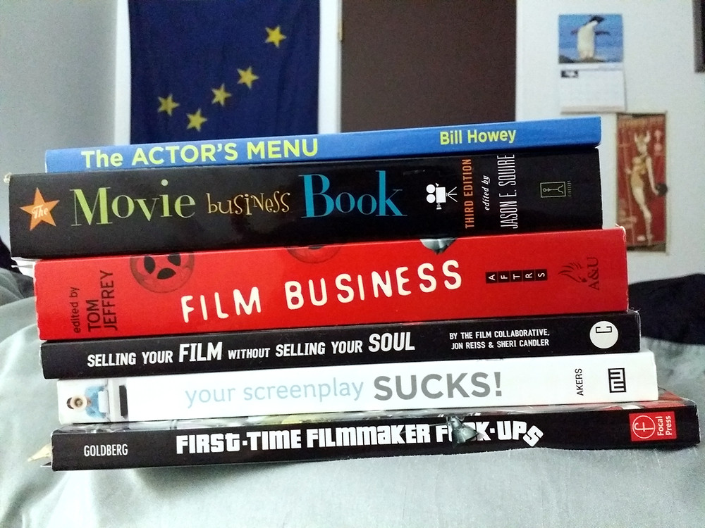 A stack of book related to film making