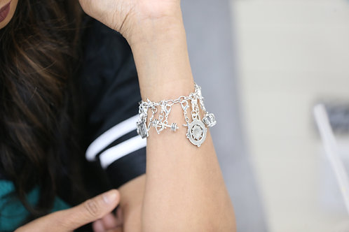 Sterling Silver Charm Bracelet w/ All Charms