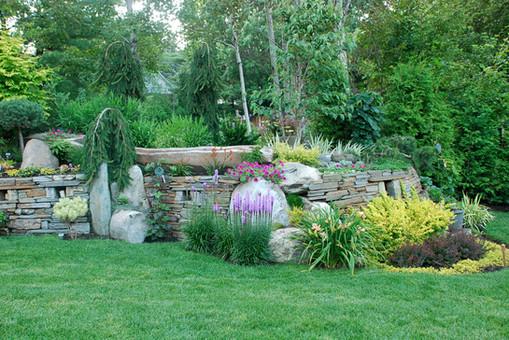 Aménagement paysager, muret de pierre