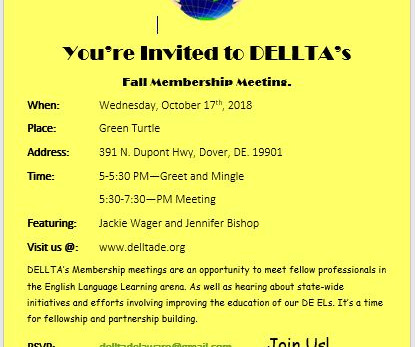 DELLTA Membership Presenters Update