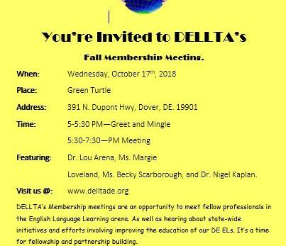 Upcoming DELLTA Fall Membership Meeting