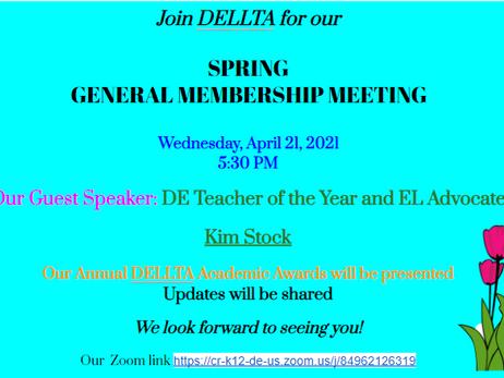 DELLTA's Spring Membership Invite - Mark Your Calendars :)