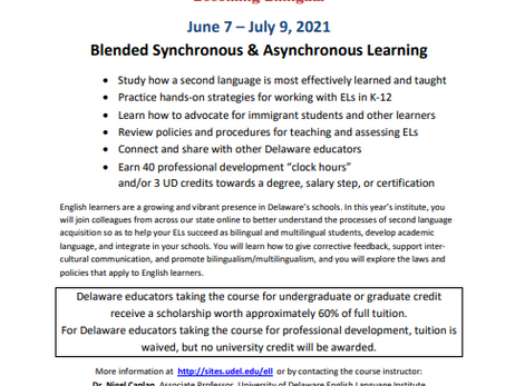 The 2021 UD - ESL Summer Institute Is Coming!