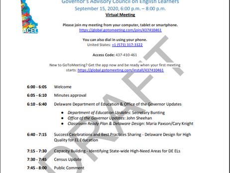 GACEL - Gov. Advisory Council on ELs Meeting 9.15.2020