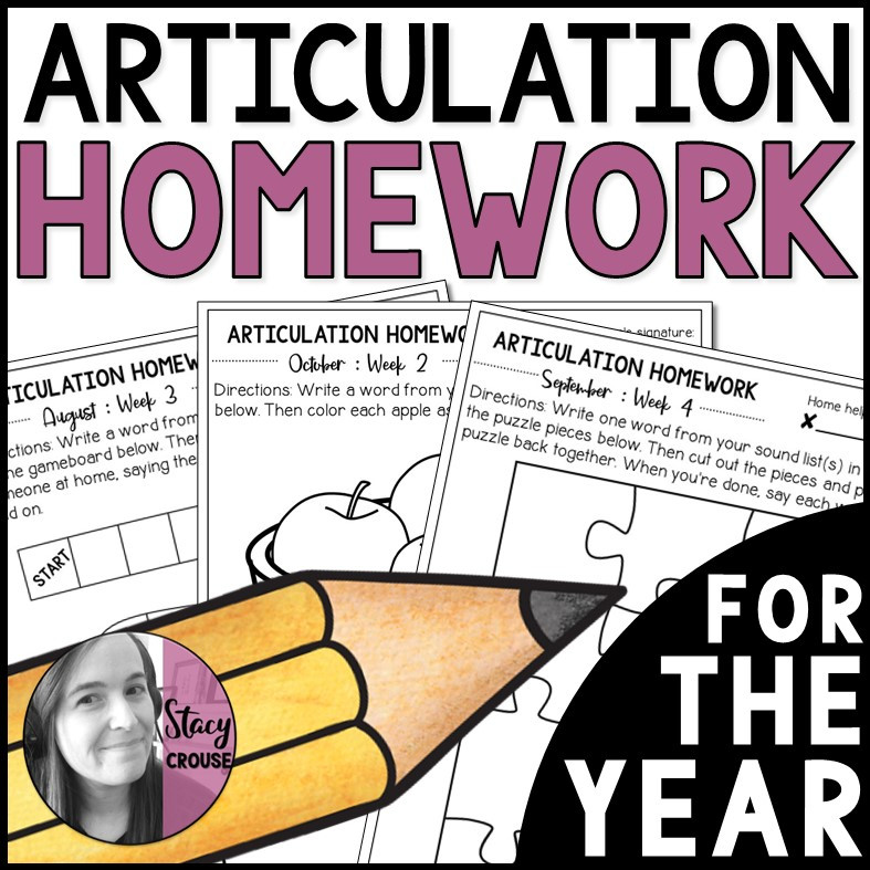 Articulation Homework for the Year