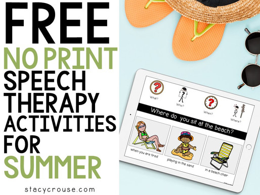 Free No Print speech Therapy Activities for Summer
