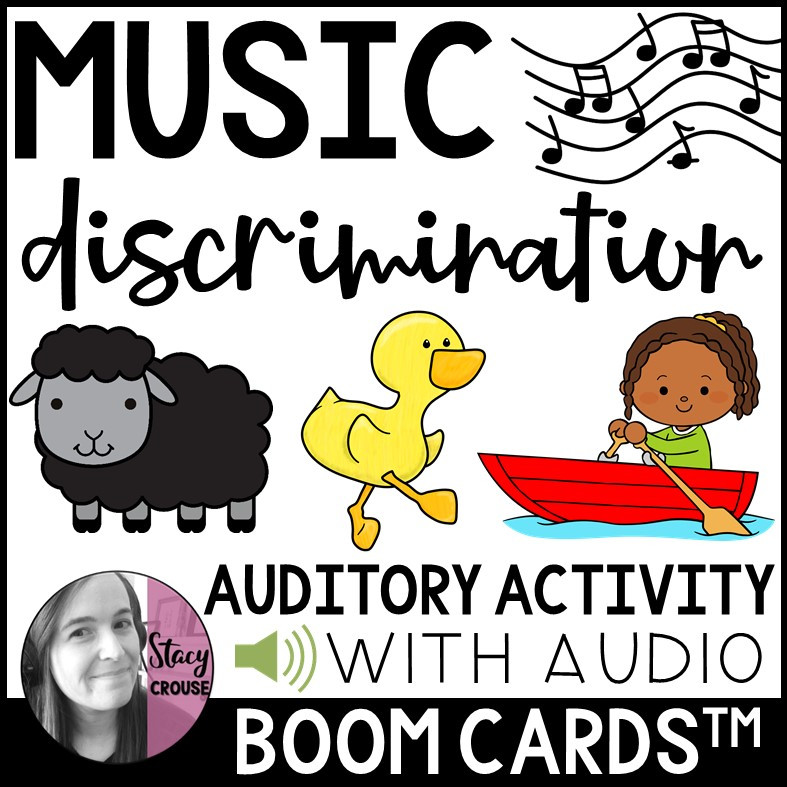 Music Discrimination Auditory Songs Activity BOOM CARDS™